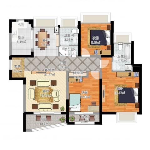 浦东颐景园3室2厅2卫1厨119.00㎡户型图