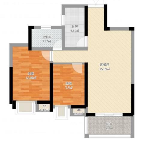 南昌华南城2室2厅2卫2厨73.00㎡户型图
