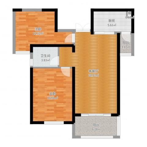 东方米兰国际城2室2厅1卫1厨92.00㎡户型图