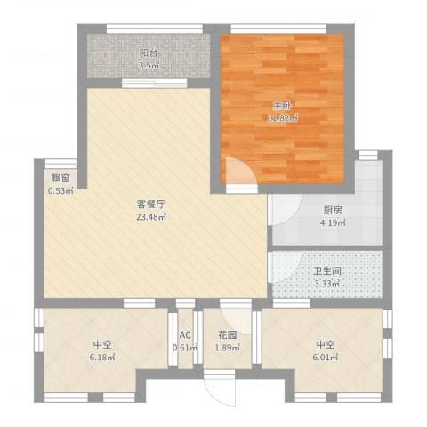 徐州市御园1室2厅1卫1厨76.00㎡户型图