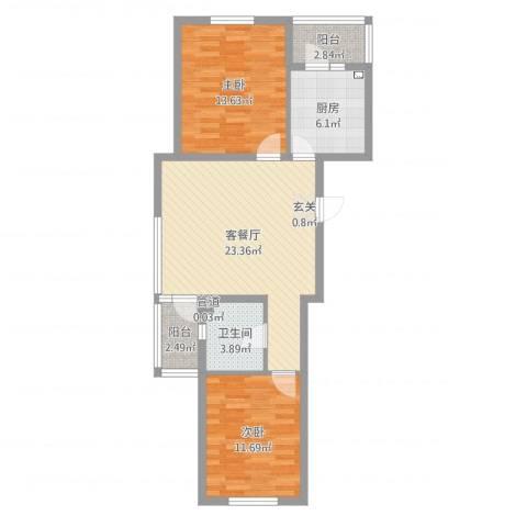 森驰金色河畔2室2厅1卫1厨92.00㎡户型图
