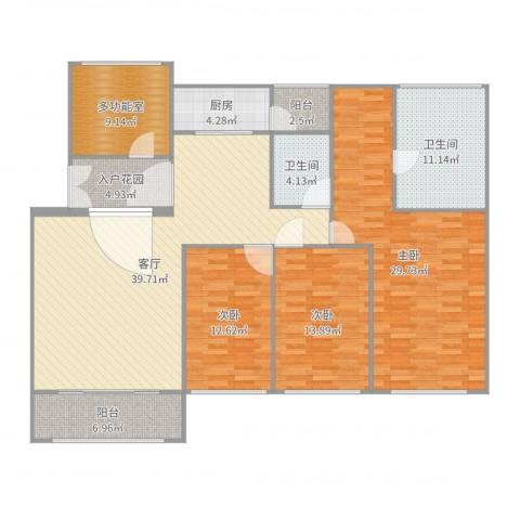 中海万锦豪园3室1厅2卫1厨174.00㎡户型图