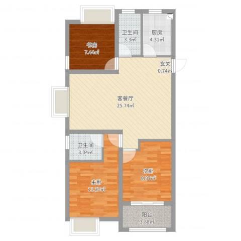 大丰香格里拉3室2厅2卫1厨86.00㎡户型图