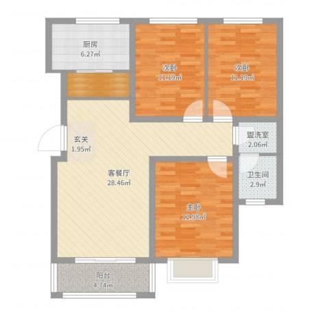 天地名都3室4厅1卫1厨103.00㎡户型图