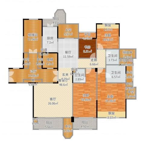 中海篁外山庄4室2厅3卫1厨242.00㎡户型图