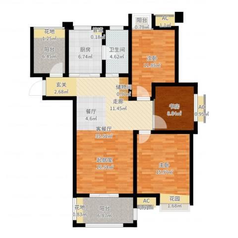 亚泰梧桐世家3室2厅1卫1厨121.00㎡户型图