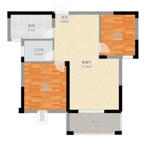格林公馆2室2厅1卫1厨80.00㎡户型图