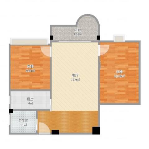 海波花园2室1厅1卫1厨74.00㎡户型图