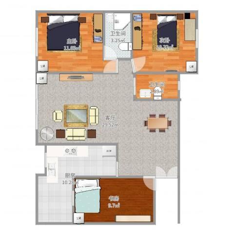 建发花园3室1厅2卫1厨96.00㎡户型图