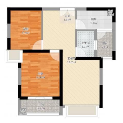 聚金万佳苑2室2厅1卫1厨67.00㎡户型图