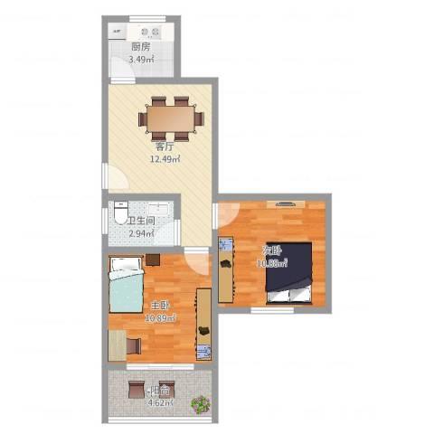 四元路20弄小区2室1厅1卫1厨57.00㎡户型图
