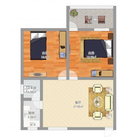 粤电花园2室1厅1卫1厨58.00㎡户型图