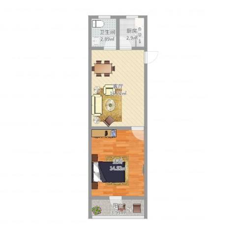 华江小区(嘉定)1室1厅1卫1厨51.00㎡户型图