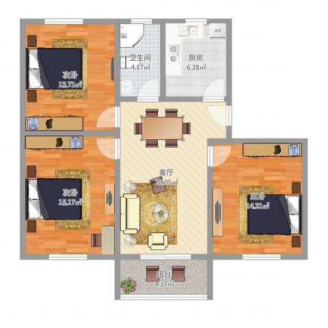 罗南三村3室1厅1卫1厨97.00㎡户型图