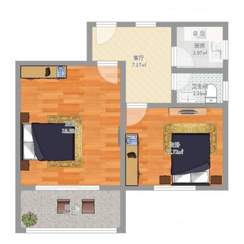 月浦二村2室1厅1卫1厨61.00㎡户型图