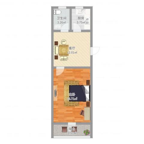 龙柏四村1室1厅1卫1厨52.00㎡户型图