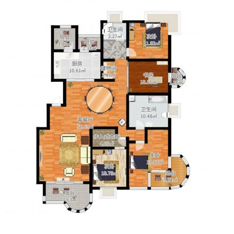 大上海国际花园4室2厅2卫1厨222.00㎡户型图
