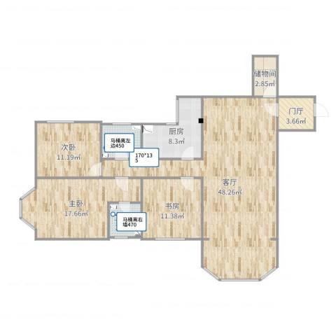 明泉公寓3室1厅2卫1厨138.00㎡户型图