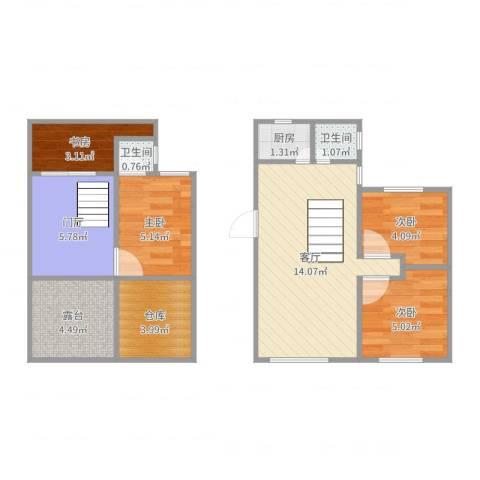 瑞景新村4室1厅2卫1厨68.00㎡户型图