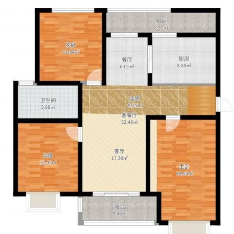 阳光・清城3室2厅1卫1厨129.00㎡户型图