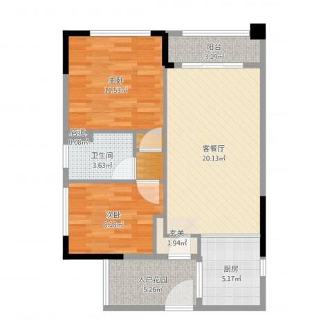翡翠绿洲别墅2室2厅1卫1厨75.00㎡户型图