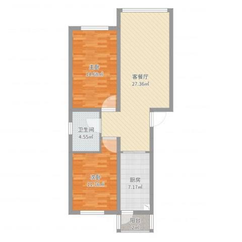千禧・幸福城2室2厅1卫1厨84.00㎡户型图