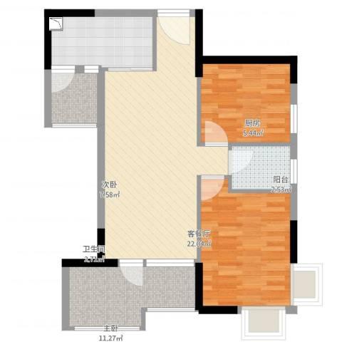 国明・皇御苑2室2厅1卫1厨73.00㎡户型图