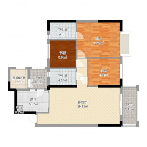 长堤1号3室2厅2卫1厨108.00㎡户型图