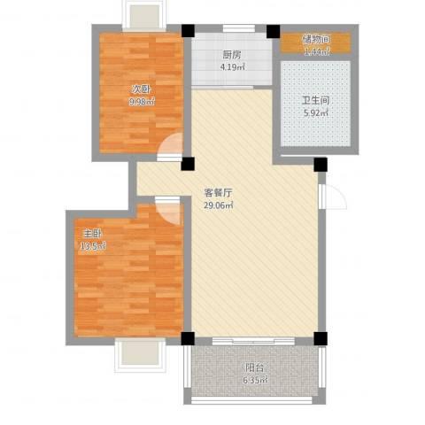 怡兰苑2室2厅1卫1厨102.00㎡户型图