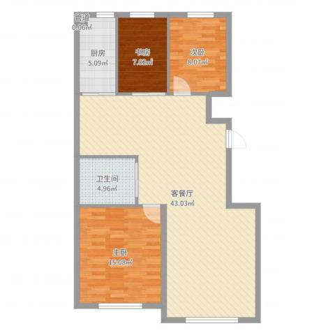 万晟幸福里3室2厅1卫1厨104.00㎡户型图