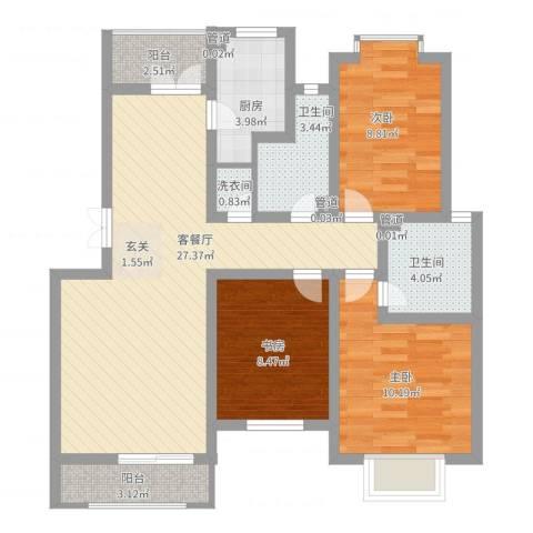万峰小区二期3室2厅2卫1厨108.00㎡户型图