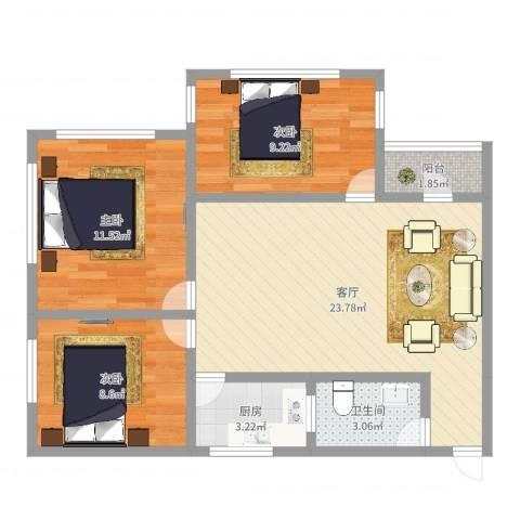 怡桂苑3室1厅1卫1厨77.00㎡户型图