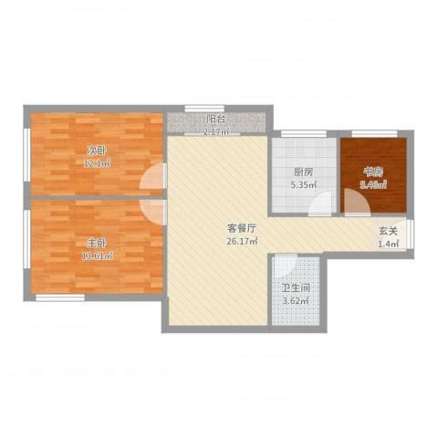 南湖东园一区3室2厅1卫1厨86.00㎡户型图