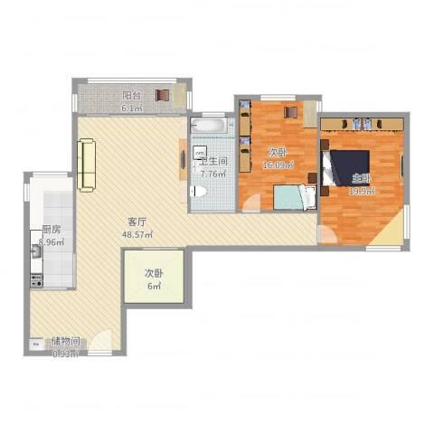 望京花园东区3室1厅1卫1厨113.38㎡户型图