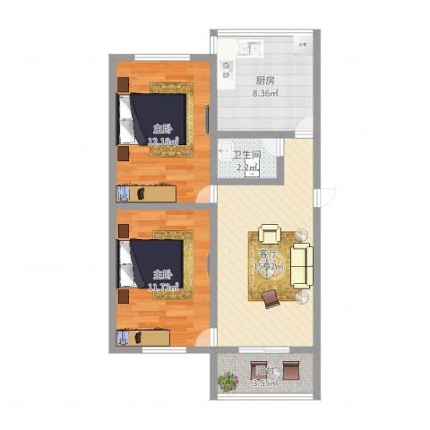 晓园新村2室1厅1卫1厨67.00㎡户型图
