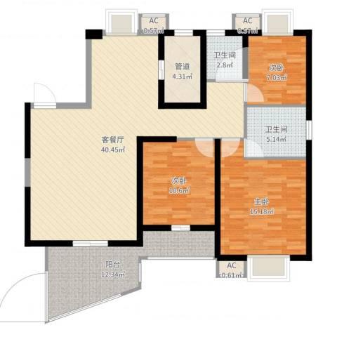 天湖城天源4室2厅4卫1厨125.00㎡户型图