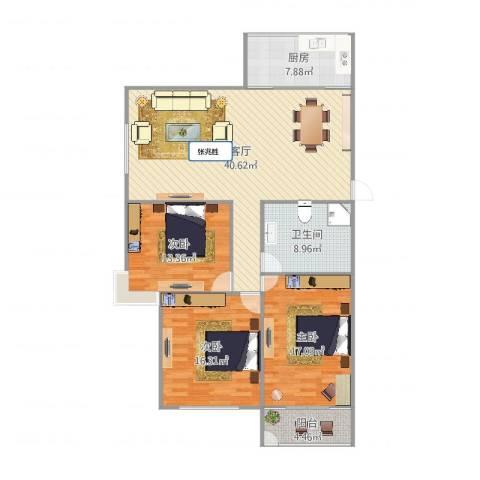 腾骐冠宸3室1厅1卫1厨136.00㎡户型图