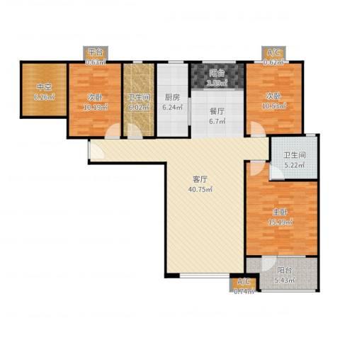 潮白河孔雀城・温莎郡3室1厅6卫1厨139.00㎡户型图
