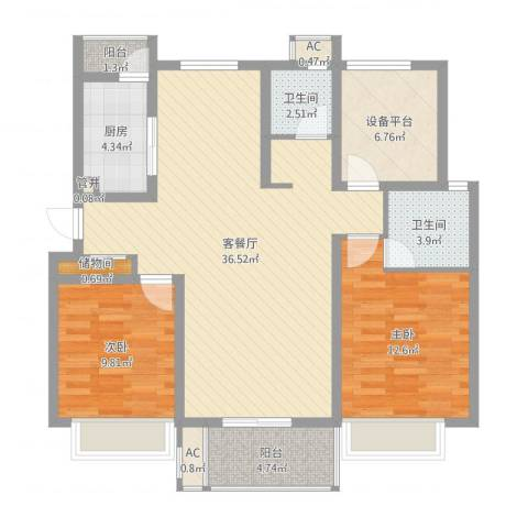 紫晶广场3室2厅2卫1厨106.00㎡户型图