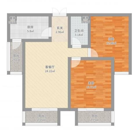 水岸茗苑2室2厅1卫1厨85.00㎡户型图