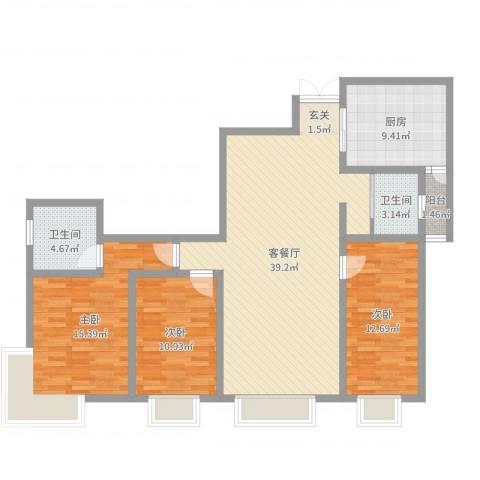明苑花园3室2厅2卫1厨121.00㎡户型图