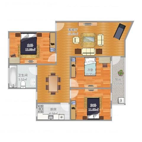 新达路小区3室2厅1卫1厨105.00㎡户型图
