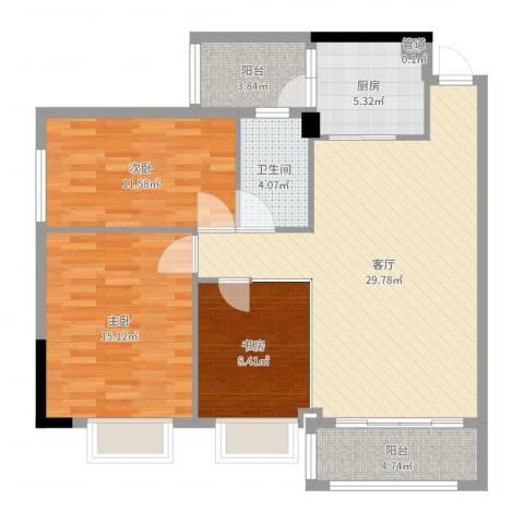 濠东花园3室1厅1卫1厨104.00㎡户型图