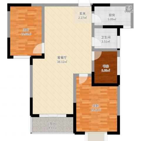 大观园家天下3室2厅1卫1厨106.00㎡户型图