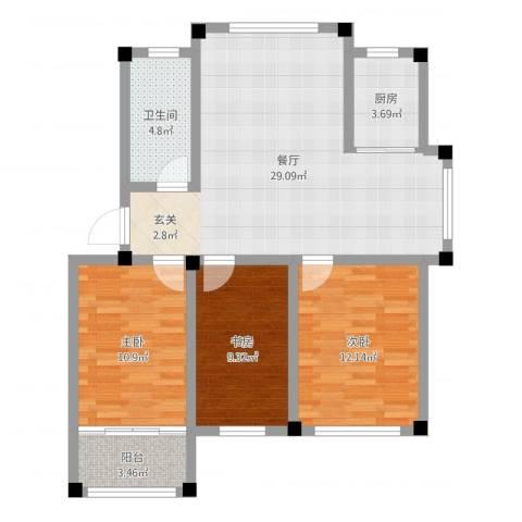 东发现代城山水园3室1厅1卫1厨92.00㎡户型图