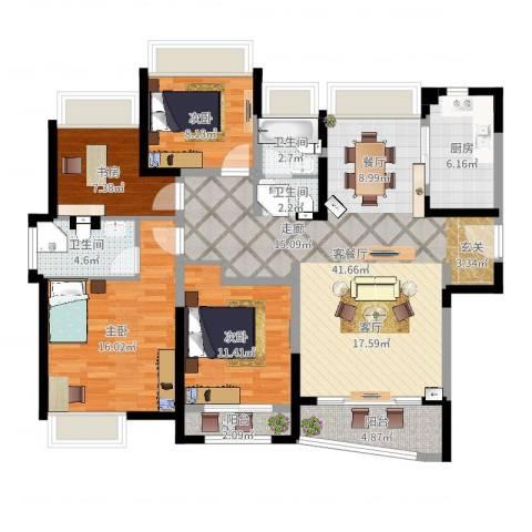 浦东颐景园4室2厅2卫1厨131.00㎡户型图
