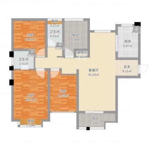荣昌新村3室2厅2卫1厨141.00㎡户型图
