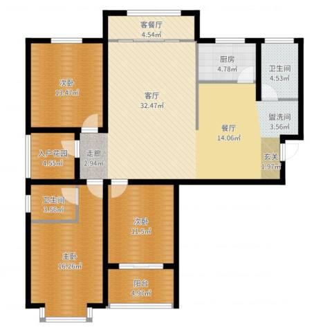 南海国际3室2厅2卫1厨145.00㎡户型图