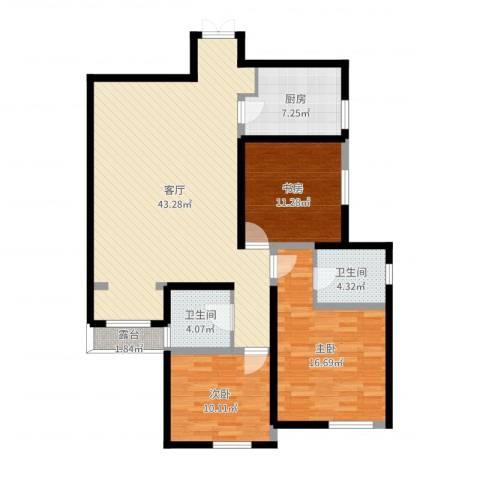 白桦林间3室1厅2卫1厨124.00㎡户型图