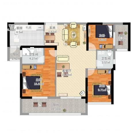 君华新城3室2厅2卫1厨140.00㎡户型图